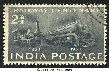 First Locomotive and Streamliner - INDIA - CIRCA 1953: stamp...