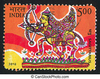 Sagittarius - INDIA - CIRCA 2010: stamp printed by India,...
