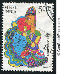 Aquarius - INDIA - CIRCA 2010: stamp printed by India, shows...