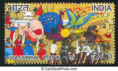 Goa Carnival - INDIA - CIRCA 2007: stamp printed by India,...