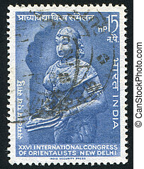 statue of Lakshmi - INDIA - CIRCA 1964: stamp printed by...