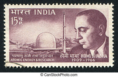 Homi Bhabha and Atomic Reactor - INDIA - CIRCA 1966: stamp...