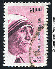 Mother Teresa - INDIA - CIRCA 1983: stamp printed by India,...