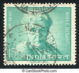 Annie Besant - INDIA - CIRCA 1963: stamp printed by India,...