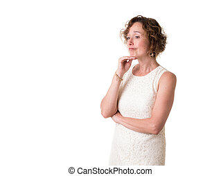 Woman Thinking - A woman in a white dress deep in thought.