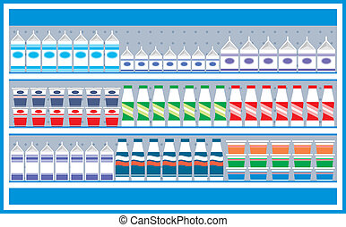 Supermarket shelves with dairy prod - Vector illustration....