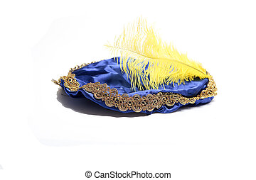 Hat of black Piet - Blue hat with yellow feather of the...