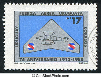 Air Force - URUGUAY - CIRCA 1988: stamp printed by Uruguay,...