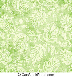 Vintage Pale Green Floral Tapestry - Worn light green floral...