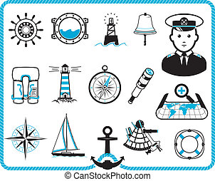Nautical frame and icons - Nautical design frame and icon...