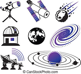 Astronautics and Space Icons; science and technology...