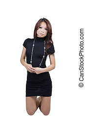 Young Skinny Attractive Asian Woman Black Dress