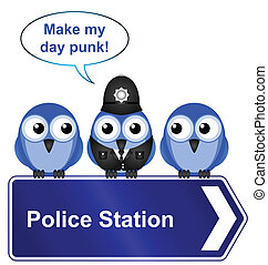 police station sign - Comical police station sign isolated...