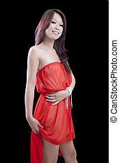 Young Skinny Attractive Asian Woman Orange Dress