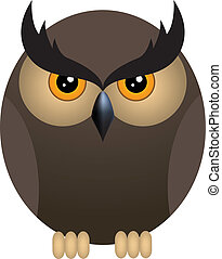 Angry owl - Brown angry owl isolated on a white background....