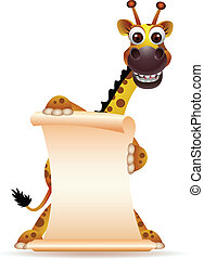 cute giraffe cartoon with blank sig - vector illustration of...