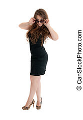 the girl in a black dress, isolated on white