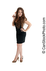 the coquette - the girl in a black dress, isolated on white