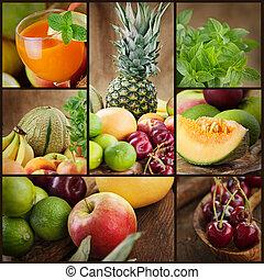 friss, gyümölcs, lé, kollázs