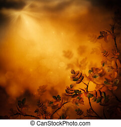 Autumn design floral background with leaves in season...