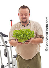 Overweight man not happy about his new diet
