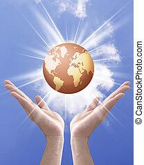 Terra, globo, mani