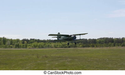 Biplane An-2 Antonov at the on takeoff
