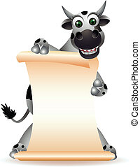 cute cow cartoon with blank sign - vector illustration of...