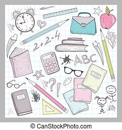 School supplies elements on lined sketchbook paper...