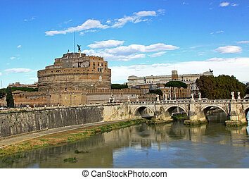 Ponte Sant Angelo - Bridge Sant Angelo over Tiber river in...