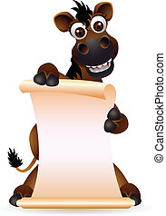 cute horse cartoon with blank sign - vector illustration of...