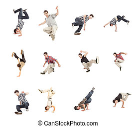 Breakdance Collage - photo collage of breakdancer on white...