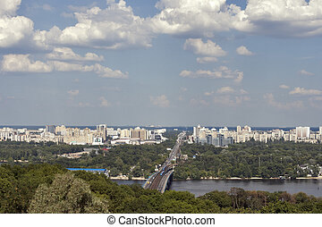 Kiev cityscape, Ukraine - View over Rusanovka district,...