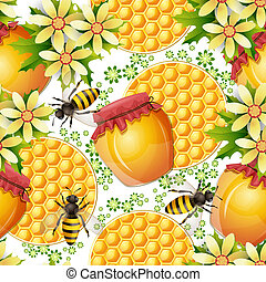 Seamless pattern with honey jar