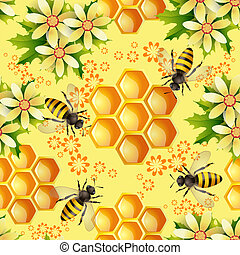 Seamless pattern with bees - Seamless pattern with flowers...