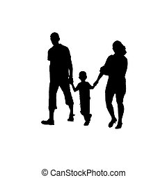 Vector silhouette of couples with baby