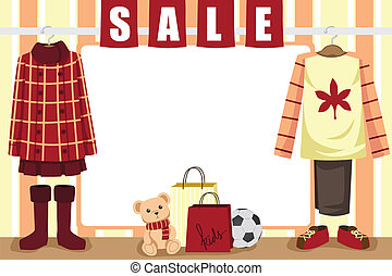 Autumn shopping background - A vector illustration of store...
