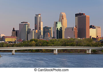 Minneapolis. - Image of Minneapolis downtown skyline at...