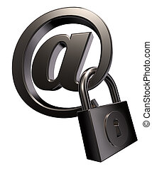 email account - email symbol with padlock on white...