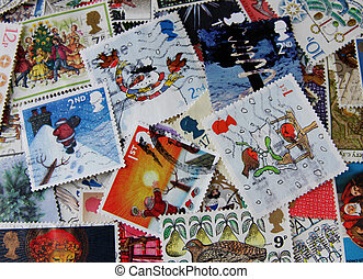Christmas background - Christmas stamps background
