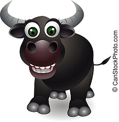 cute buffalo cartoon - vector illustration of cute buffalo...
