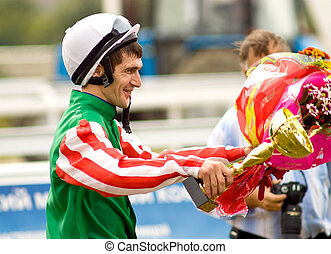 The Winner,jockeys Guseinov an the race for the prize of the...