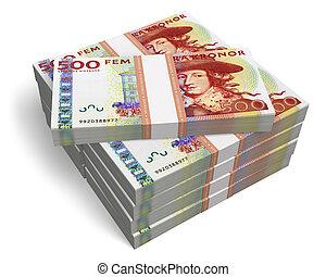 Stacks of 500 Swedish krona banknotes isolated on white...