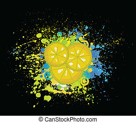 Black background with slices of lemon. Vector