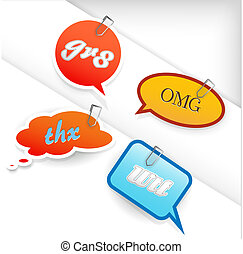 Set of short-cut labels with different shapes and colors.