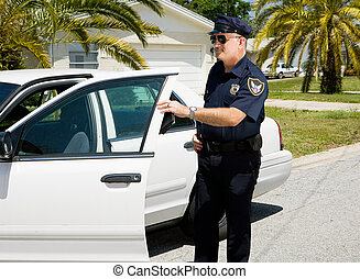 Police - Exiting Police Car - Police officer getting out of...