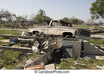 Ninth Ward lot with pick up - Heavily damaged homes in the...