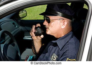 policía, oficial, radio
