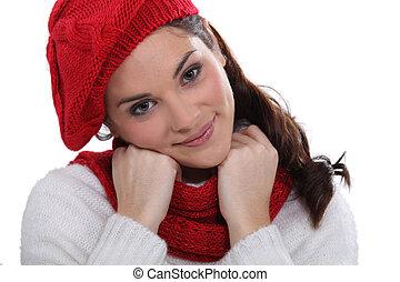 Woman in stylish knitwear
