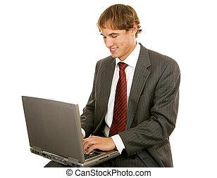jovem, homem negócios, ligado, laptop